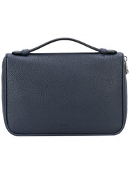 Bally Top Handle Clutch Men Calf Leather One Size Blue