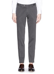Isaia Cotton Slim Fit Chinos Grey