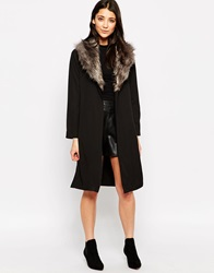 Influence Duster Jacket With Faux Fur Collar Black