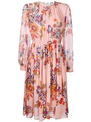 Msgm Floral Print Midi Dress Pink And Purple