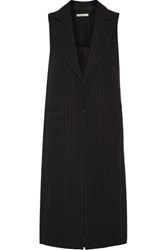 Alice Olivia Simone Pinstriped Wool And Cotton Blend Vest Black