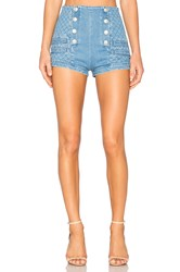 Balmain Military High Waist Denim Short Blue Denim