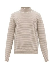 Maison Martin Margiela Striped Roll Neck Wool Sweater Brown White