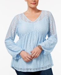 Ny Collection Plus Size Lace Empire Waist Top Chambray Roseivy