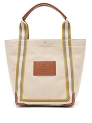 Anya Hindmarch Pont Small Leather Trimmed Canvas Tote Bag White Multi