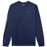 Patagonia Long Sleeve Text Logo Tee Blue