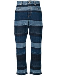 Sonia Rykiel Washed Striped Boyfriend Jeans Blue