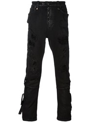 Unravel Destroyed Effect Skinny Jeans Black