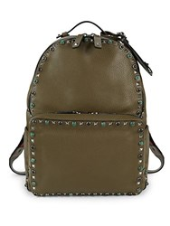 Valentino Garavani Pebbled Leather Stud Backpack Army Green