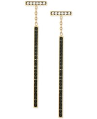 Vince Camuto Gold Tone Clear And Jet Crystal Linear Drop Earrings