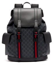 Gucci Gg Supreme Canvas And Leather Backpack Black