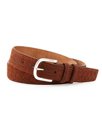 W.Kleinberg Sueded Crocodile Belt Tan