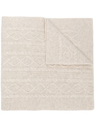 Pringle Of Scotland Overwashed Cable Stitch Scarf Nude And Neutrals