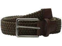 Torino Leather Co. Italian Woven Cotton And Leather Elastic Olive Men's Belts