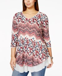 American Rag Plus Size Three Quarter Sleeve Printed Tunic Only At Macy's