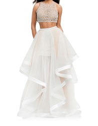 Glamour By Terani Beaded Crop Top 2 Piece Ballgown Ivory Nude