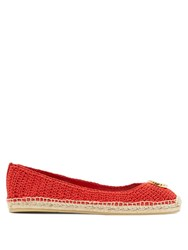Gucci Lilibeth Gg Faux Pearl Embellished Espadrilles Red