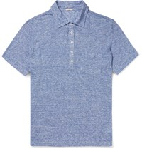 Massimo Alba Slim Fit Striped Slub Linen Polo Shirt Blue