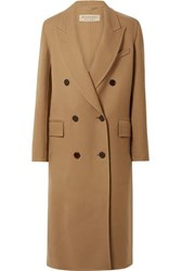 Burberry Double Breasted Wool And Silk Blend Twill Coat Camel