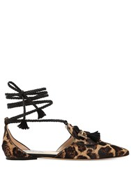 Tod's 10Mm Animalier Lace Up Leather Flats