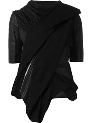 Rick Owens Draped Short Sleeve Jacket Black