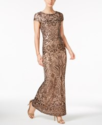 Betsy And Adam Sequined Gown Bronze