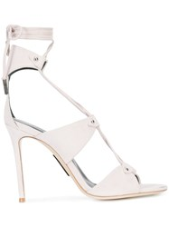 Thomas Wylde Lace Up Sandals Suede Nude Neutrals