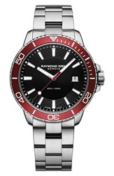 Raymond Weil Tango Diving Chronograph Automatic Bracelet Watch 42Mm Silver Black Red