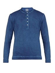 Massimo Alba Garment Dyed Long Sleeved Cotton Henley T Shirt Blue