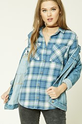 Forever 21 Flannel Plaid Shirt Navy Mint