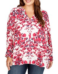 Lucky Brand Plus Floral Printed Long Sleeve Blouse White Multi