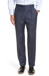 Santorelli Men's Big And Tall 'Luxury Serge' Double Pleated Wool Trousers Medium Blue