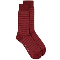Oliver Spencer Telford Stripe Sock Red
