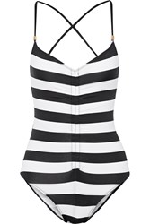 Tart Collections Bronte Ruched Striped Swimsuit Black