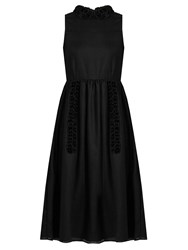 Jupe By Jackie Nelsons Floral Applique Wool Dress Black