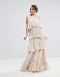 True Decadence High Neck Tiered Maxi Dress Ecru Cream