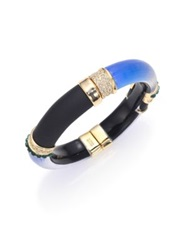 Alexis Bittar Sport Deco Lucite And Crystal Colorblock Bangle Bracelet Blue Gold Multi