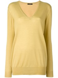 Roberto Collina V Neck Sweater Yellow Orange