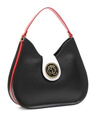 Braccialini Federica Tonal Leather Hobo Bag Black
