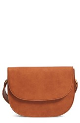 Sole Society Honor Faux Leather Messenger Bag Brown Cognac
