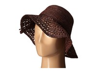 Karen Kane Raffia Straw Packable Floppy Cocoa Caps Brown