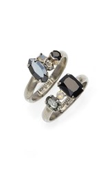 Sorrelli Women's Double Up Two Piece Stackable Ring Set Black