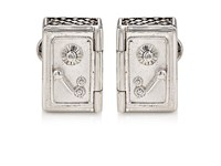 Jan Leslie Men's Safe And Money Bag Cufflinks Silver