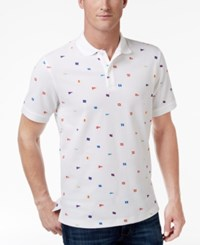 Club Room Men's Flag Print Performance Polo Only At Macy's Bright White