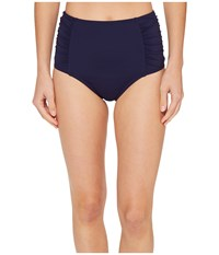 Tommy Bahama Pearl High Waist Shirred Bikini Bottom Mare Navy Women's Swimwear
