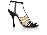 Nina Ricci Women's Suede And Leather Strappy Sandals Black Gold