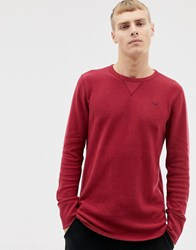 Hollister Icon Logo Waffle Long Sleeve Top In Burgundy Red