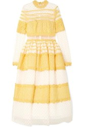 Costarellos Lace Trimmed Swiss Dot Tulle Midi Dress Yellow