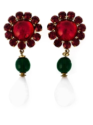 Chanel Vintage Flower Gripoix Glass Earrings Red