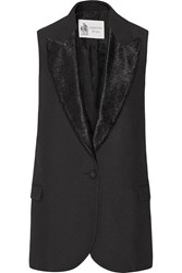 Lanvin Satin Trimmed Cotton Canvas Vest Black